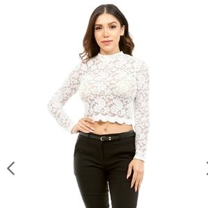 NWT Long Sleeve Floral Lace Crop Top